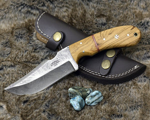 "Hunting Knife, Skinning Knife, Damascus Knife, Damascus steel blade 9"" Custom Olive wood handle full tang skinner w leather sheath SW22-Shokuninknives"