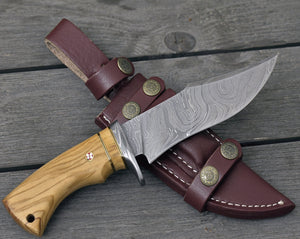 "DAMASCUS KNIFE, DAMASCUS steel knife, damascus, hunting knife, steel tactical camping utility Bowie knife 10"" 3490-3 custom, Olive wood-Shokuninknives"