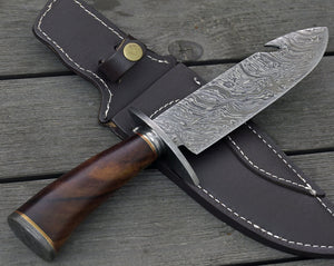 "DAMASCUS HUNTING KNIFE, Custom Damascus knife, 12.0"" ,Hand forged, Damascus steel knife, Damascus Guard & Pommel, Rose wood handle-Shokuninknives"