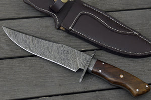 "DAMASCUS HUNTING KNIFE, Custom Damascus Classic Bowie knife, 12.0"", Hand forged, Damascus steel knife, Damascus Guard, Walnut wood handle-Shokuninknives"