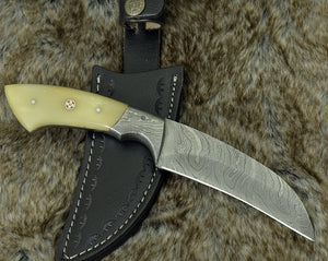 "Damascus knife, Damascus steel hunting knife, Karambit knife, hunting knife, camping utility knife 9"" Exotic camel bone handle-Shokuninknives"