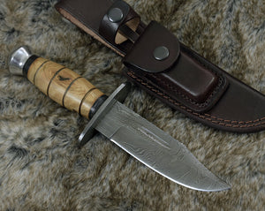 "Hunting Knife 10"" Bowie knife, Damascus steel knife blade custom handmade-Shokuninknives"