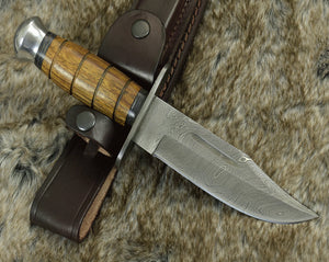 "DAMASCUS KNIFE, CUSTOM, 10.0"" ,Hand Made, Damascus steel hunting knife, Bowie knife, Damascus Guard and Exotic rose wood handle, full tang-Shokuninknives"