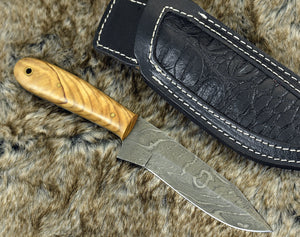 "CUSTOM 9"", HUNTING KNIFE, Damascus Knife, Every Day Carry, Damascus steel Knife, Clip Point Blade, Damascus skinning knife, personalized-Shokuninknives"