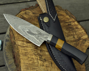 "CUSTOM, 10"", PRO CHEF knife, Damascus Steel knife, French Chef knife w/ Exotic yellow heart wood & Canvas micarta composite handle-Shokuninknives"