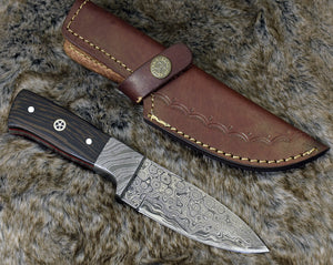 "DAMASCUS KNIFE, CUSTOM skinning knife, 8.0"" ,Hand Made, Damascus steel hunting knife, perosnalized gift, Exotic wenge wood handle, full tang-Shokuninknives"