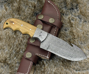 "DAMASCUS KNIFE, DAMASCUS steel knife, damascus, hunting knife, steel tactical camping utility hunting gut hook knife 9"" custom, Olive wood-Shokuninknives"