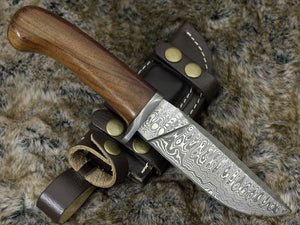 "DAMASCUS HUNTING KNIFE, Custom Damascus knife, 10.0"" ,Hand forged, Damascus steel knife, Damascus Guard, Rose wood handle-Shokuninknives"