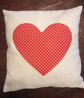 Red Polka Dot Heart - pillow cover