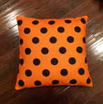 Black & Orange Polka Dot- pillow cover