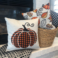 Checkered Pumpkin - pillow cover