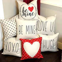 Red Mini Dot Heart - pillow cover