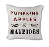 Pumpkins Apples Hayrides - pillow cover