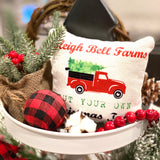 Tiered Tray Mini Pillow | Sleigh Bells Farms Red Truck | Farmhouse Tiered Tray Decor | Christmas Tiered Tray Decor