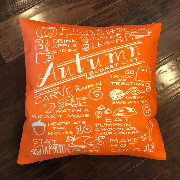 Autumn Bucket List - pillow cover