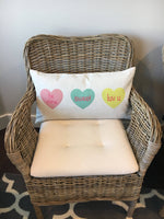 Conversation Hearts - pillow cover