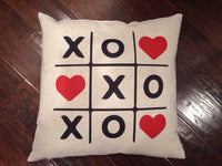 Tic Tac Toe Hearts - pillow cover