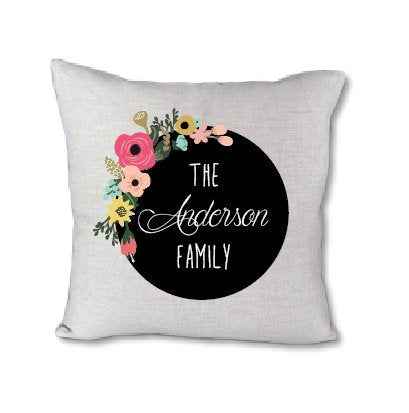 Floral Family Name - pillow cover