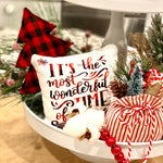 Tiered Tray Mini Pillow | It's The Most Wonderful Time of the Year | Farmhouse Tiered Tray Decor | Christmas Tiered Tray Decor