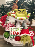 Tiered Tray Mini Pillow | Grinch Stink Stank Stunk | Farmhouse Tiered Tray Decor | Christmas Tiered Tray Decor