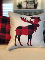 White Plaid Moose - pillow cover
