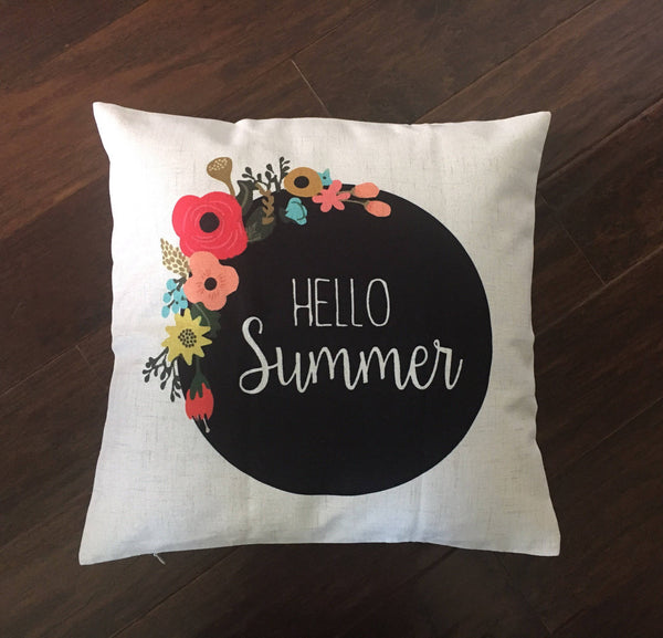 Floral Hello Summer - pillow cover
