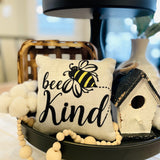 Tiered Tray Mini Pillow | Bee Kind Mini Pillow | Farmhouse Tiered Tray Decor | Spring Tiered Tray Decor