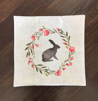 Watercolor Rabbit and Wreath - pillow cover