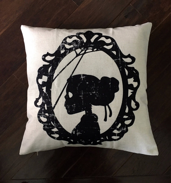 Lady Skeleton Silhouette - pillow cover