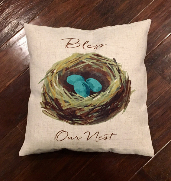 Bless Our Nest - pillow cover