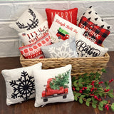 Tiered Tray Mini Pillow | Christmas Tree Red Truck | Farmhouse Tiered Tray Decor | Christmas Tiered Tray Decor