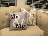 Mr & Mrs (Grey) - pillow cover