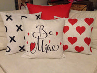 Red Hearts Dots - pillow cover