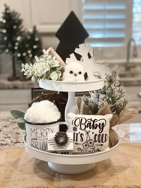 Tiered Tray Mini Pillow | Baby It's Cold Outside Mittens | Farmhouse Tiered Tray Decor | Christmas Tiered Tray Decor