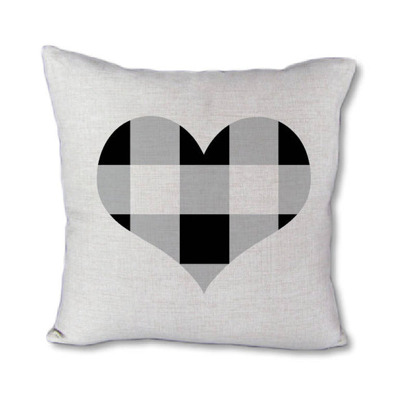 Buffalo Check Heart - pillow cover