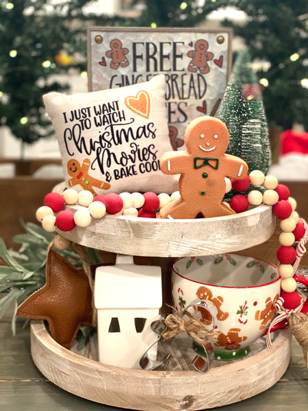 Tiered Tray Mini Pillow | Gingerbread Movies And Cookies Mini Pillow | Farmhouse Tiered Tray Decor | Christmas Tiered Tray Decor