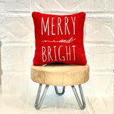 Tiered Tray Mini Pillow | Merry and Bright | Farmhouse Tiered Tray Decor | Christmas Tiered Tray Decor