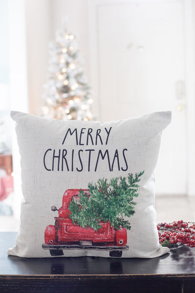 Christmas Truck & Tree - pillow cover