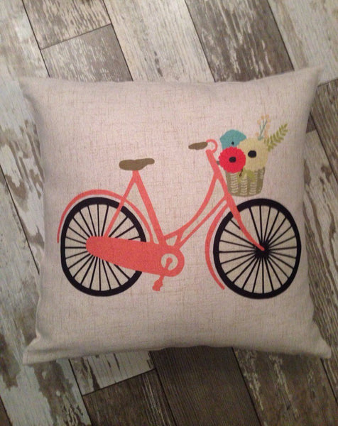 Coral Bicycle - pillow cover