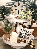 Tiered Tray Mini Pillow | Let's Get Cozy | Farmhouse Tiered Tray Decor | Christmas Tiered Tray Decor