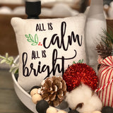 Tiered Tray Mini Pillow | All is Calm all is Bright | Farmhouse Tiered Tray Decor | Christmas Tiered Tray Decor