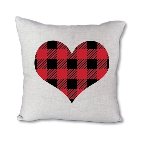 Buffalo Plaid Heart - pillow cover