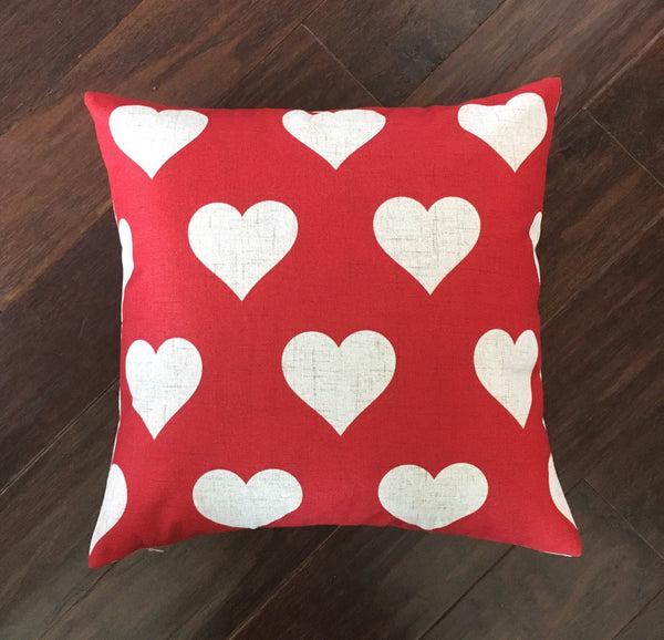 Solid Red w/ Hearts - pillow cover
