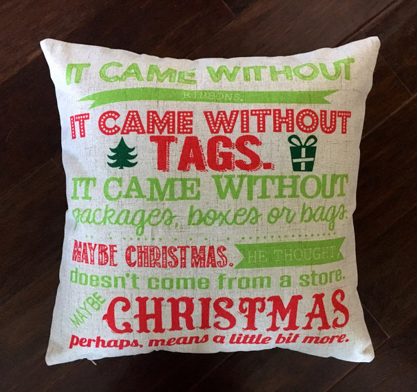 Grinch Subway Art - pillow cover