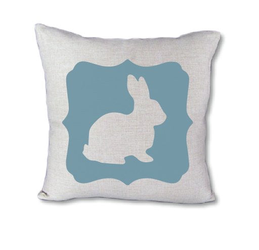 Blue Easter Bunny - pillow cover