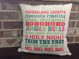 Christmas Subway Art - pillow cover
