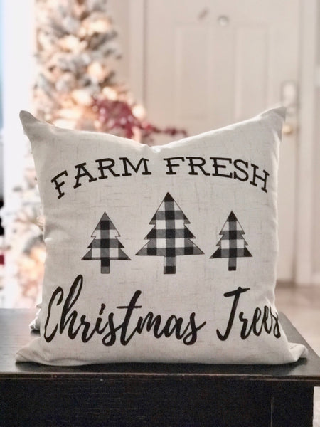 Farm Fresh Checkered Trees - pillow cover