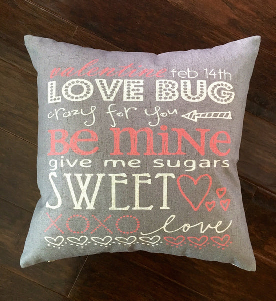 Grey & Pink Valentines Words - pillow cover