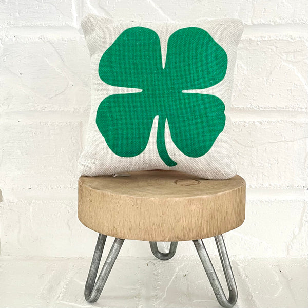 Tiered Tray Mini Pillow | Clover Mini Pillow | Farmhouse Tiered Tray Decor | St. Patrick's Day Tiered Tray Decor