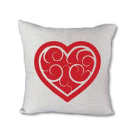 Red Swirl Heart - pillow cover